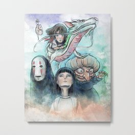 Spirited Away Watercolor Painting Metal Print