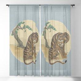 Tiger with magpie type-C : Minhwa-Korean traditional/folk art Sheer Curtain