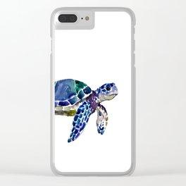 Sea Turtle Illustration Clear iPhone Case