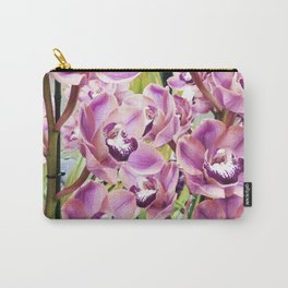 Botanical organic lilac purple orchid floral photo Carry-All Pouch