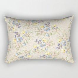 Vintage ivory linen blue yellow gold floral pattern Rectangular Pillow