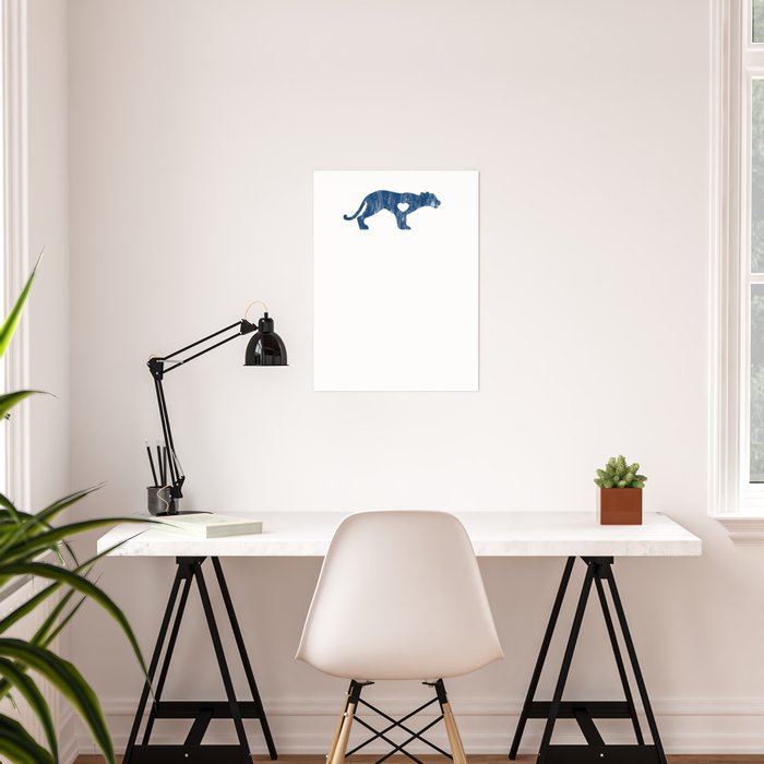Cougar Mountain Lion Puma Big Cat Sports Mascot I Love Cougar Big Cats Blue  Distressed Poster by knuxxshop
