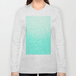Winter Snow Mint Blue Ombre Background Long Sleeve T-shirt