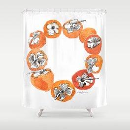 Persimmon Wreath Shower Curtain