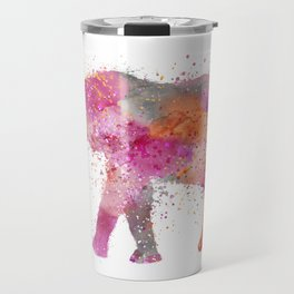 Artsy watercolor Elephant bright orange pink colors Travel Mug