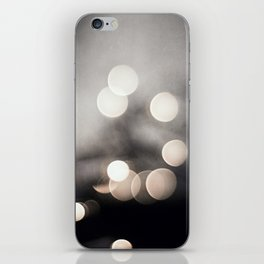 Black and White Bokeh Lights Photography, Sparkle Light Art, Neutral Sparkly Photo iPhone Skin
