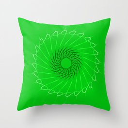 Spirographs blue on a green background. Throw Pillow