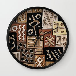 Brown and Black Abstract Mud Cloth Print Wall Clock