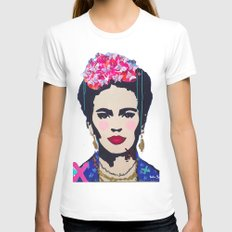 Frida Kahlo by Paola Gonzalez White MEDIUM Womens Fitted Tee