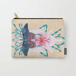 Butterfly White Orchid Tattoo on wood Carry-All Pouch