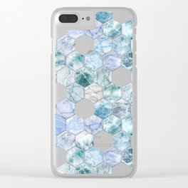 Ice Blue and Jade Stone and Marble Hexagon Tiles Clear iPhone Case