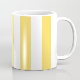 Naples yellow - solid color - white vertical lines pattern Coffee Mug