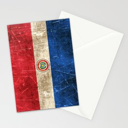 Vintage Aged and Scratched Paraguay Flag Stationery Cards