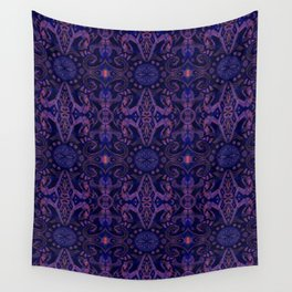 Curves & lotuses, abstract pattern, ultra-violet Wall Tapestry