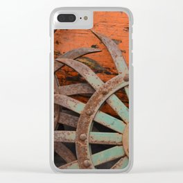 Rusted Metal Flowers Clear iPhone Case