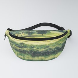 Lake and trees painting Fanny Pack