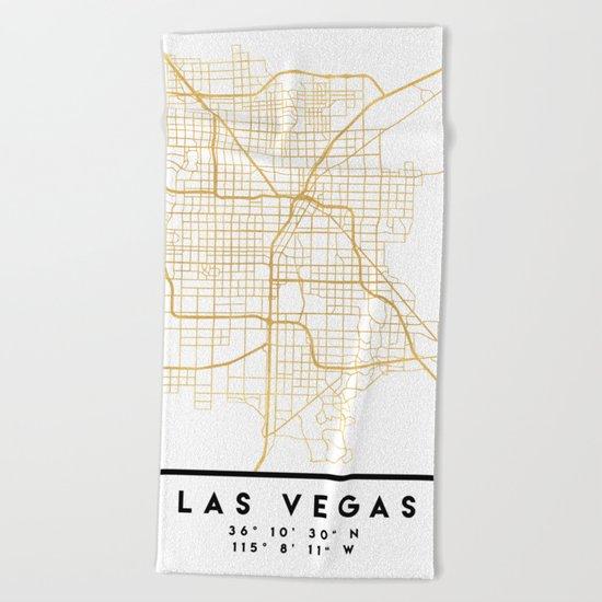 LAS VEGAS NEVADA CITY STREET MAP ART Beach Towel