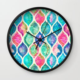 Watercolor Ogee Patchwork Pattern Wall Clock