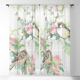 Sparrows and Apple Blossom, spring floral bird art Sheer Curtain