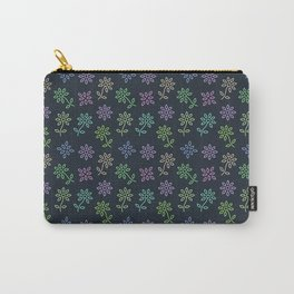 Floral Flower Pattern in Blue Carry-All Pouch