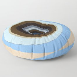 blue and brown circles Floor Pillow