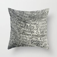 writing Throw Pillows featuring ancient writing by Falko Follert Art-FF77