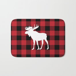 Red Buffalo Plaid Moose Bath Mat