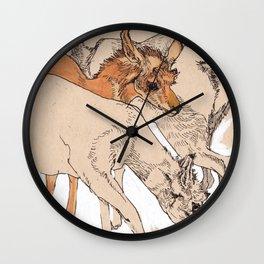 Female Pronghorns Wall Clock