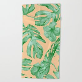 Tropical Monstera Hibiscus Botanical Pattern Green Coral Peach Beach Towel