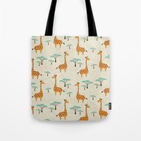 giraffes Tote Bags featuring Giraffes by BlueLela