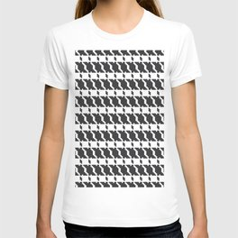 Black and white geometric abstract background, cloth pattern, goose foot. Pied de poule. Ve T-shirt