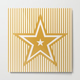The Greatest Star - Golden Yellow Stripes Metal Print