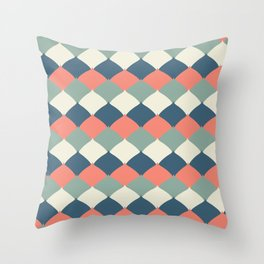 Spring Patio Collection - Leafy Quad Pattern Coral Throw Pillow