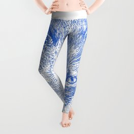 kitten drawing, blue Leggings