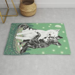 Hugging dogs Rug
