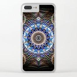 Deep Indigo Meditation Boho Weaving Elegant Mandala Print Clear iPhone Case