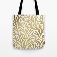 coral Tote Bags featuring Gold Coral by Cat Coquillette