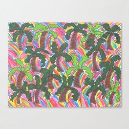 Rainbow Palm Trees Tropical Party Canvas Print