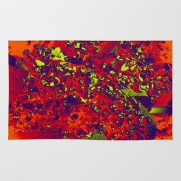 Floral Abstraction in red Rug