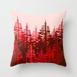 Pine Forest - Red and Pink Throw Pillow