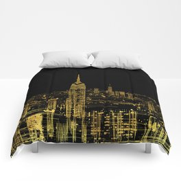Abstract Gold City  Skyline Design Comforters