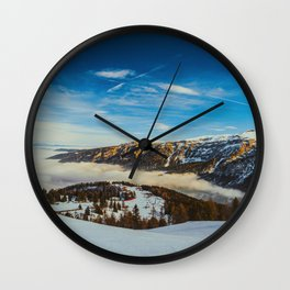 Mid Century Modern Round Circle Photo Rolling Snow Hills Distant Mountains Wall Clock