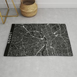 London Black Map Rug