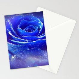 Gracious Gorgeous Blue Rose Blossom Galaxy Ultra HD Stationery Cards
