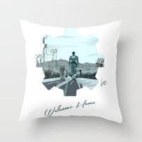 fallout Throw Pillows featuring Fallout 4 by jorgeink
