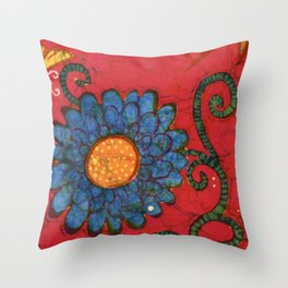 batik butterflies and flowers on red 2 Throw Pillow