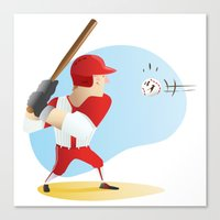 baseball Canvas Prints featuring Baseball! by Dues Creatius
