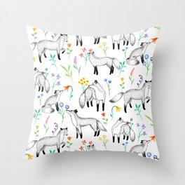 Fox Floral Throw Pillow