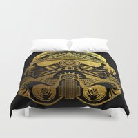 gold foil Duvet Covers featuring Mandala StormTrooper - Gold Foil by Spectronium - Art by Pat McWain