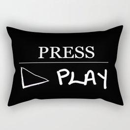Press Play: Black Rectangular Pillow